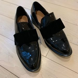 Zara Black Patent Loafers with Bow
